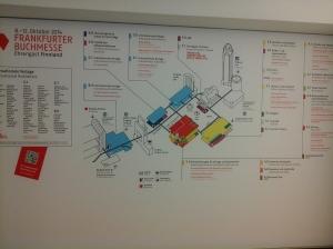 Frankfurtin kirjamessujen alueen kartta.